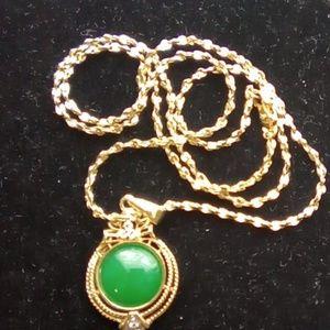 Vintage Jade & Gold Necklace & Pendant.